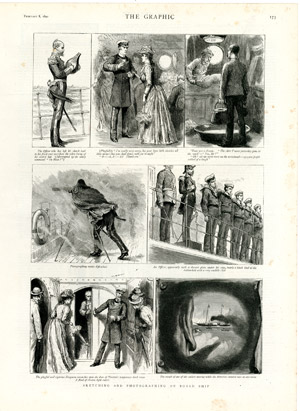 « Sketching and Photographing on Board Ship » (non signé), <br>The Graphic, 8 février 1890.