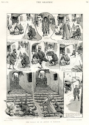 """The Trials of an Artist in Tanger"", <br>par William Ralston, <br>d'après les croquis d'Arthur H. Horwood, <br>The Graphic, 2 mars 1895."