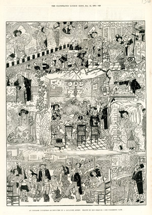 """An English Christmas as Depicted by a Japanese Artist, Drawn by Kru-Shan-Ki"", <br>par George Cruikshank Jr, <br>The Illustrated London News, 25 décembre 1880."