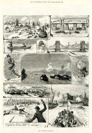 """The University Boat-Race : sketches before the race"", <br>par A.C. Corbould, <br>The Illustrated London News, 17 mars 1883."