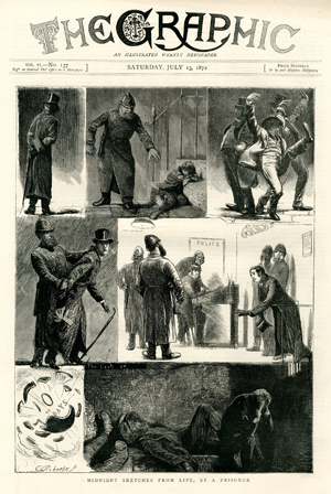 « Midnight sketches from life, by a prisonner », <br>par C. Roberts, <br>The Graphic,13 juillet 1872.