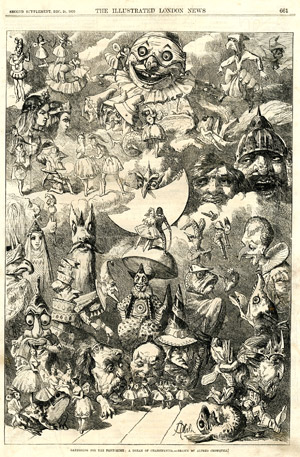 """Gathering for the Pantomime : a Dream of Chantifancia"", <br>par Alfred Crowquill, <br>Illustrated London News, 24 décembre 1870."
