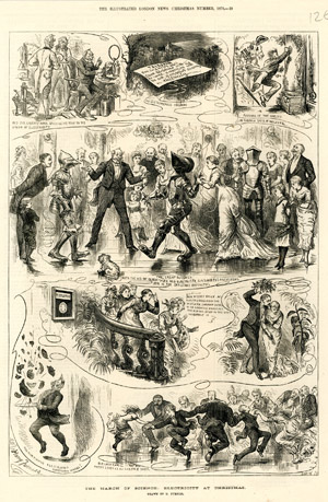 """The March of Science : Electricity at Christmas"", <br>par Harry Furniss, The Illustrated London News, <br>supplément de Noël, décembre 1879."