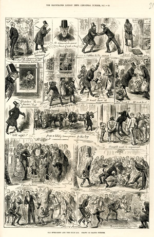 """Old Evergreen and the Yule Log"", <br>par Harry Furniss, <br>The Illustrated London News, <br>supplément de Noël, décembre 1877."