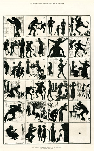 """Six Shadow Charades"", <br>par Harry Furniss, <br>Illustrated London News, 17 décembre 1881."