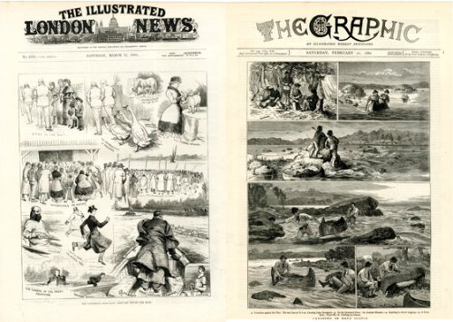 « The University Boat-Race : sketches before the race », <br>par A.C. Corbould, <br>The Illustrated London News, 17 mars 1883.<br>« Canoeing in Nova Scotia », <br>par Joseph Nash, <br>The Graphic, 21 février 1880.